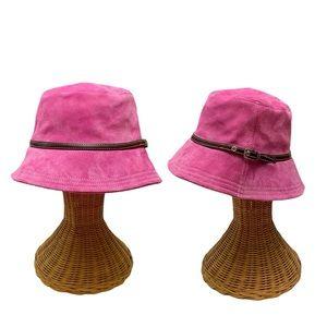 Y2K 2000s Coach Hot Pink Suede Bucket Hat